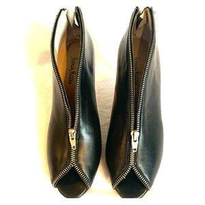 Neiman Marcus Black Zipper Heels